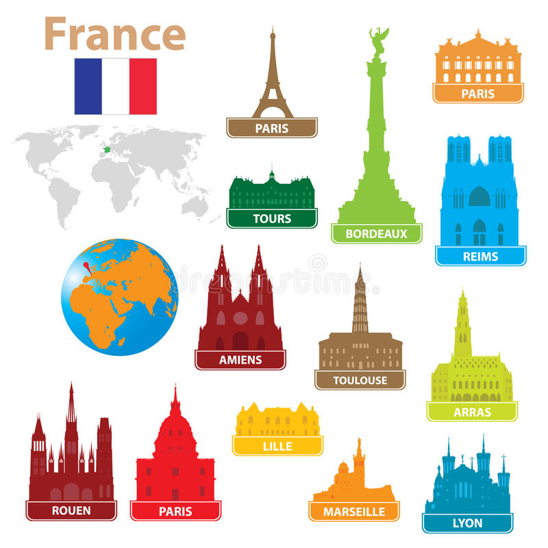 Download Symbols city to France stock vector. Illustration of exterior - 21878449