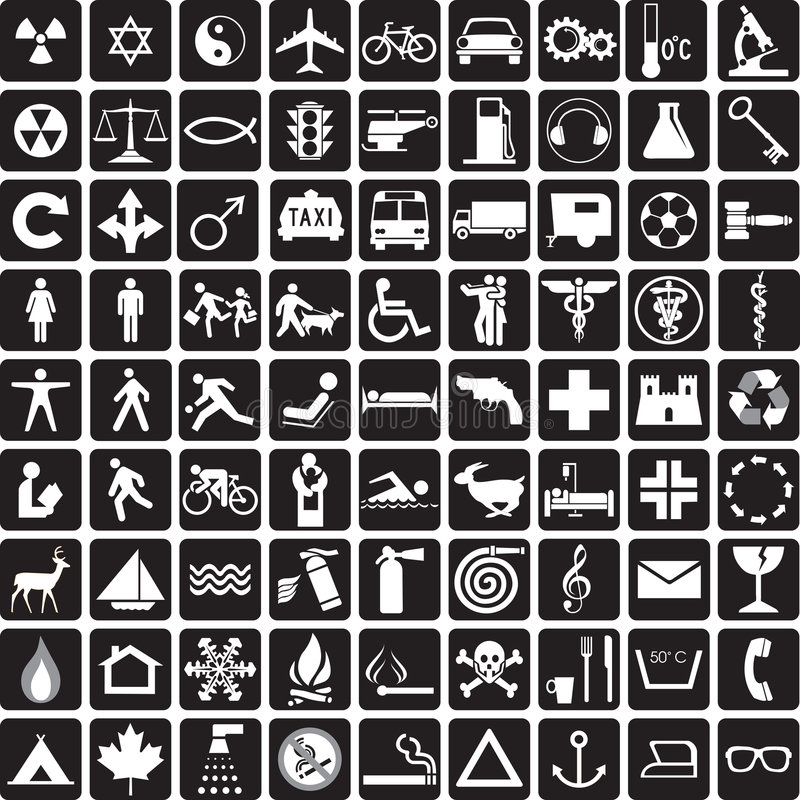 Symbols collection. 81 black and white icons, symbols collection
