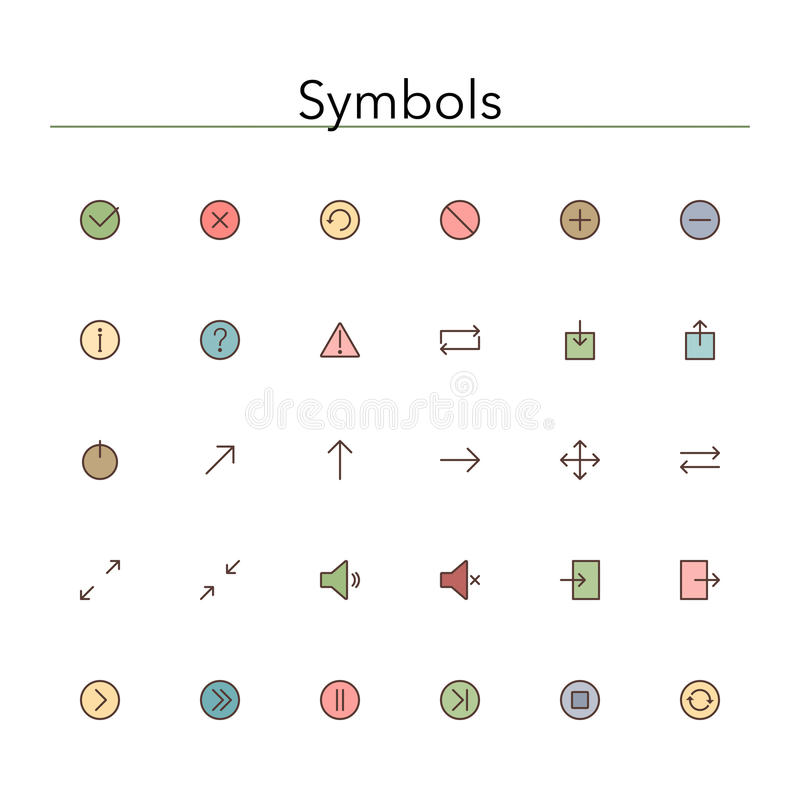 Symbols Colored Line Icons royalty free illustration