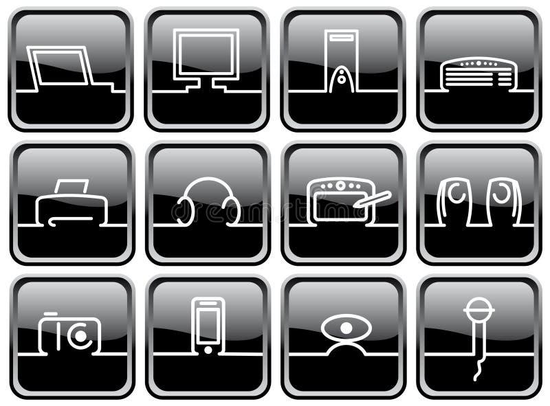 Symbols Of Computer Technics Royalty Free Stock Photo