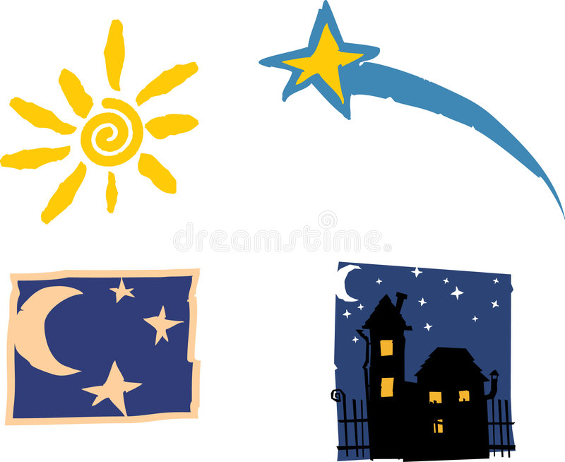 Symbols for day and the nigh vector illustration