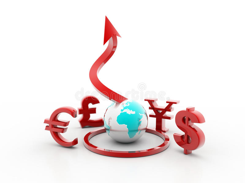 Download Symbols Of Dollar, Euro, Pound, Yen And Rupee Stock Illustration - Image: 16312891