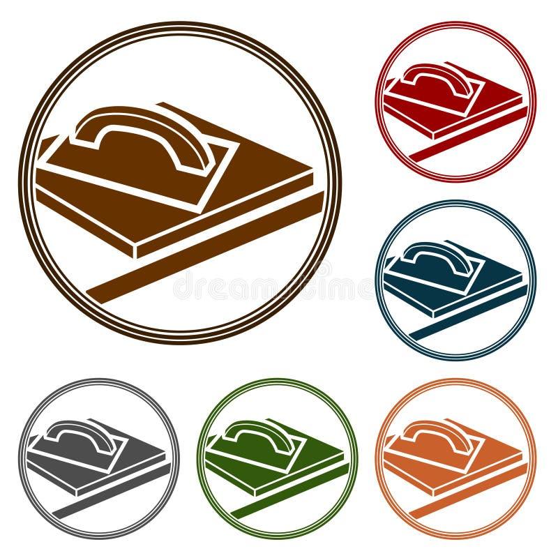 Symbols- eller logobeståndsdel för arbeten med betong och cement Enkelt plant vektorgrouthjälpmedel på den konkreta yttersidan oc royaltyfri illustrationer