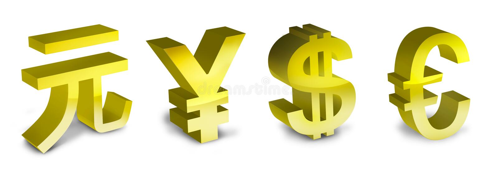 Download Symbols Of The Euro, Yen, Yuan And Dollar Stock Illustration - Image: 16481386