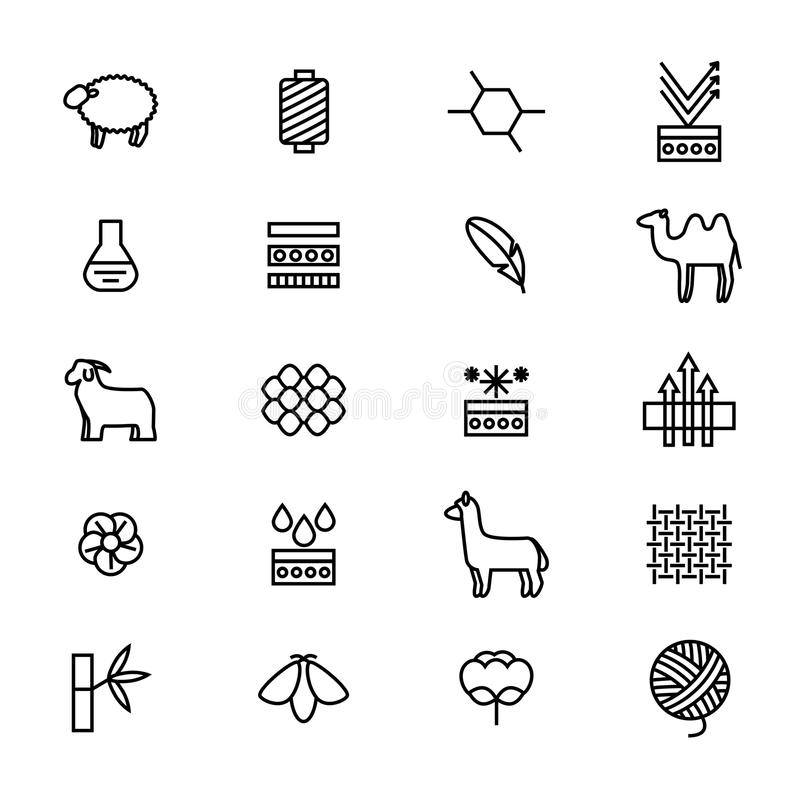 Symbols of Fabric Feature Thin Line Icon Set. Vector. Symbols of Fabric Feature Thin Line Icon Set Include of Cotton, Silk Bamboo and Wool. Vector illustration royalty free illustration