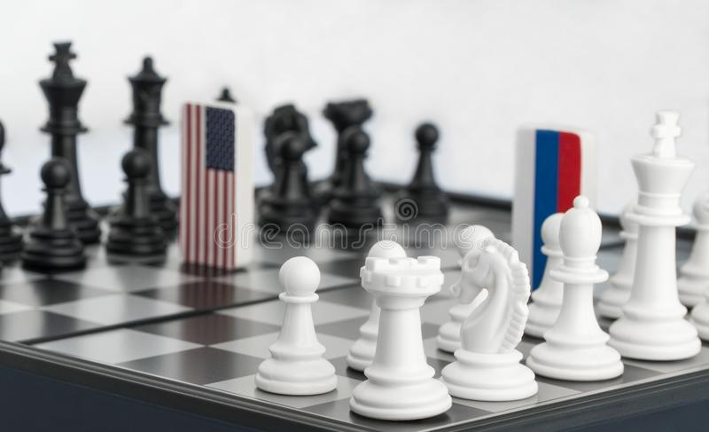 Chessboard with flags of countries stock image