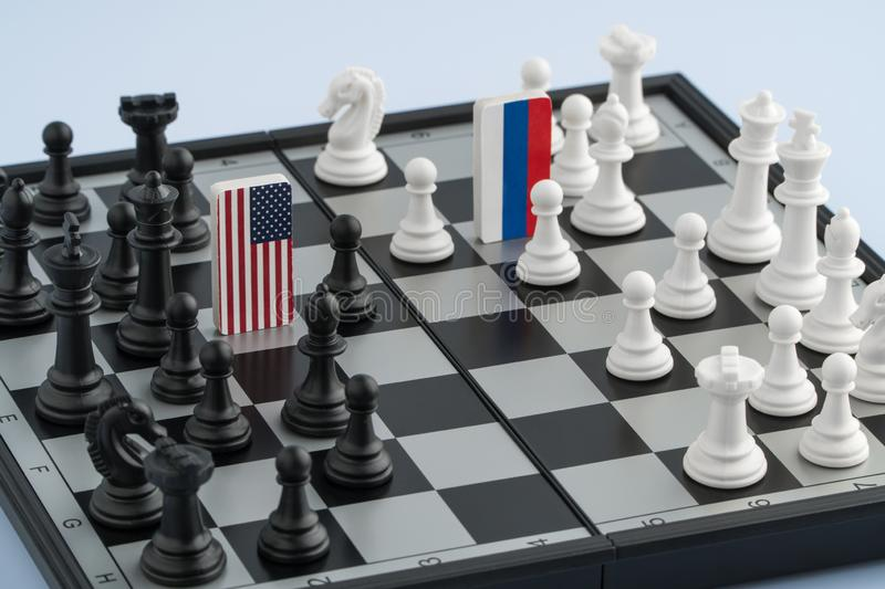 Chessboard with flags of countries royalty free stock photo