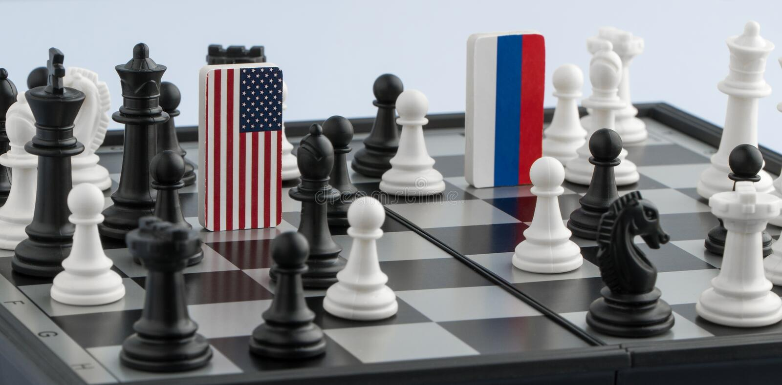 Chessboard with flags of countries royalty free stock images