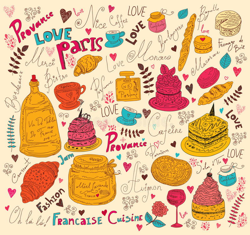 Download Symbols of food France stock illustration. Illustration of glass - 28261547