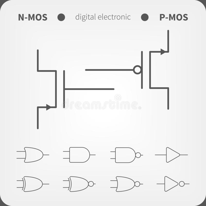 Free Symbols For Building Blocks Of Logic Gates. N-MOS And P-MOS Transistor Schematic Symbols. Royalty Free Stock Photo - 154677545