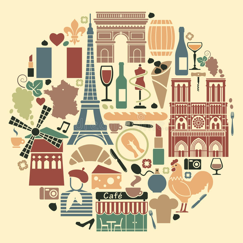 symbols of france in the form of a circle stock vector illustration of buildings cheese 39921095. Black Bedroom Furniture Sets. Home Design Ideas