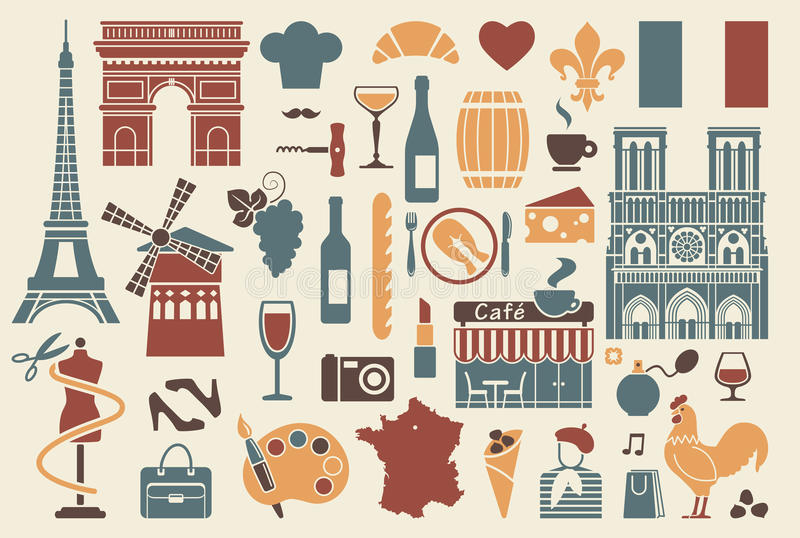 Symbols of France royalty free illustration