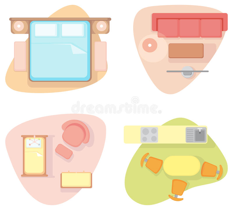 Download Symbols Of Furniture Of Different Rooms Stock Vector - Image: 24840441