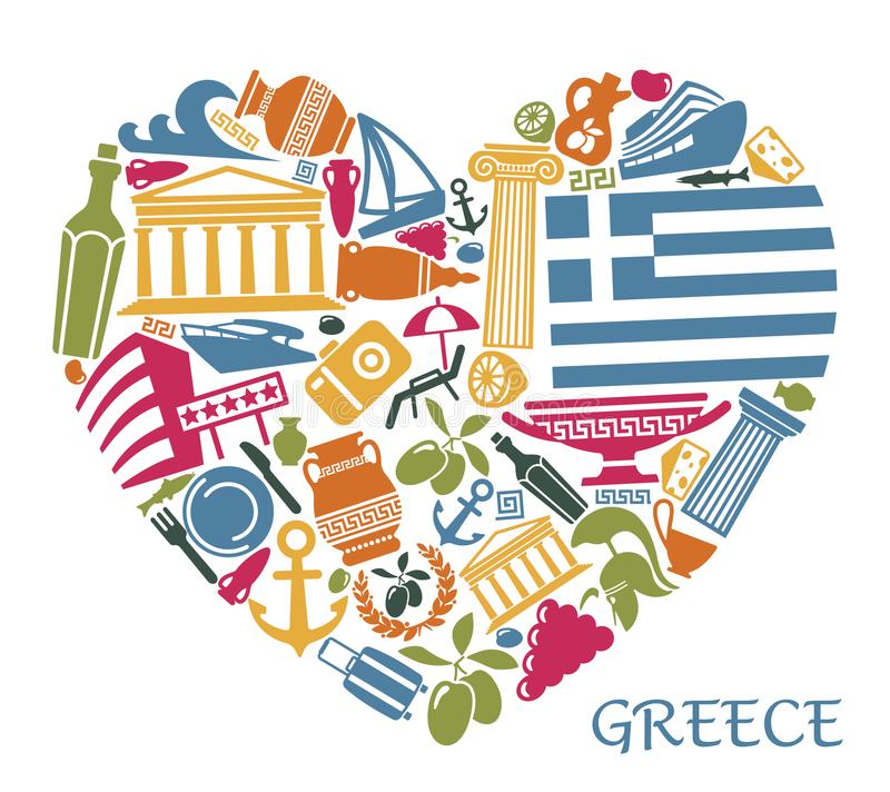 Symbols of Greece in the form of heart vector illustration