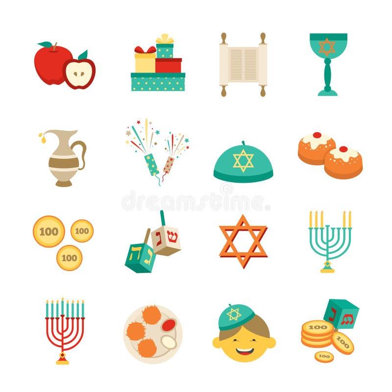 Symbols Of Hanukkah Icons Set Stock Vector Illustration Of