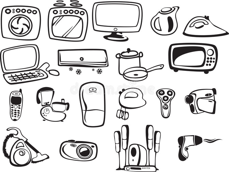 Symbols Of Household Appliances And Electronic Stock Vector
