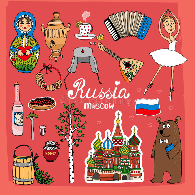 Symbols and Icons of Russia stock illustration