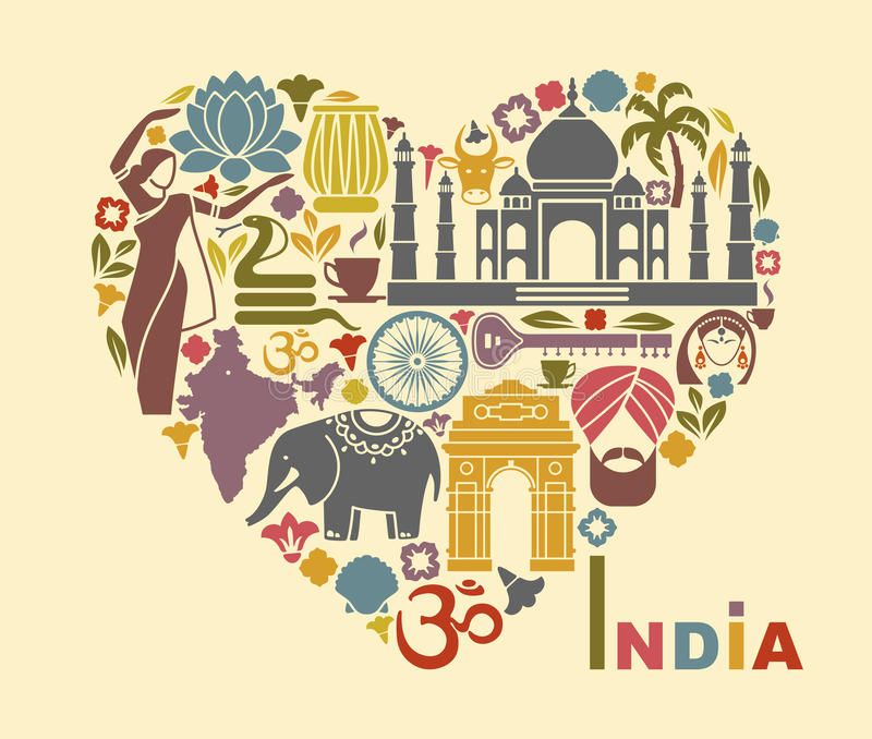 Symbols of India in the form of heart. Traditional symbols of India in the form of heart vector illustration