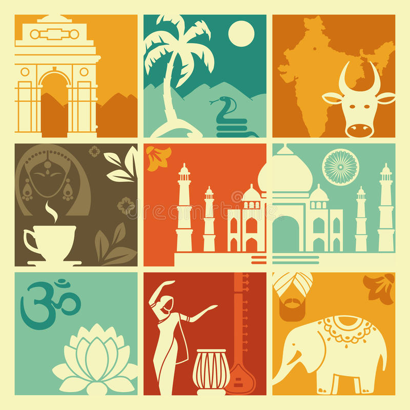 Symbols of India. Squares with traditional symbols of India stock illustration