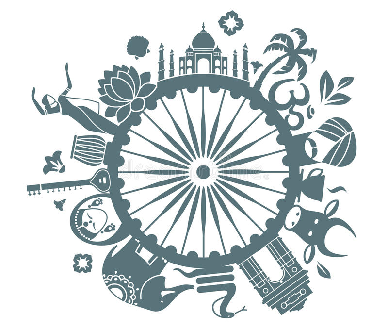 Symbols of India. Traditional symbols of India in the form of a circle royalty free illustration