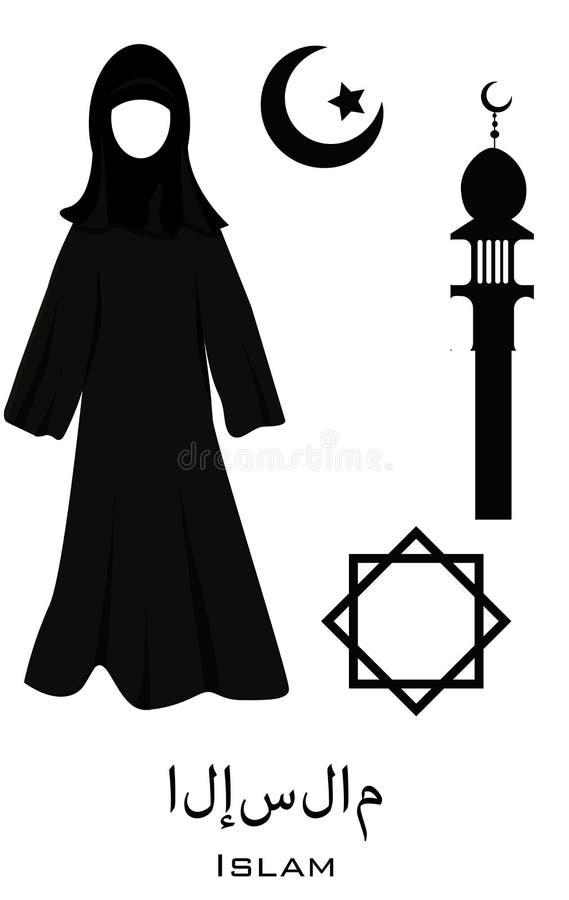 Symbols of Islam. Muslim woman clothes, mosque, star. vector illustration