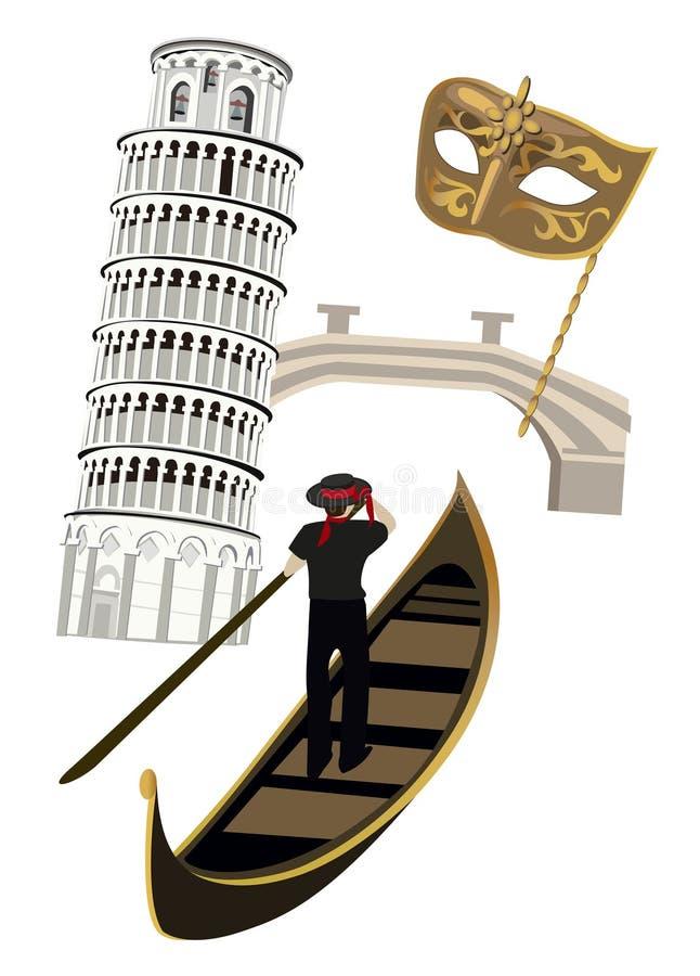 Symbols of Italy. Italian symbols as Pisa tower, wine, Venetian mask and gondola stock illustration