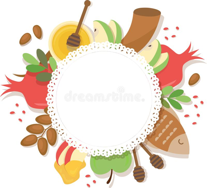 Symbols of Jewish holiday Rosh Hashana , New Year. vector template with place for your text stock illustration