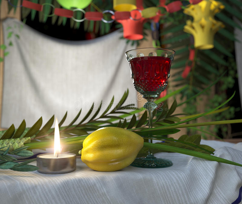 Symbols of the Jewish holiday Sukkot with candle and wine glass stock photography