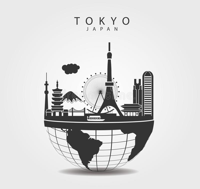 Travel to Tokyo Japan. Top of the World. Symbols and LandMarks of Tokyo, Japan. Elements of monuments graphics vector royalty free illustration