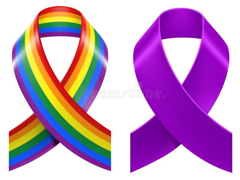 Symbols of LGBT rainbow Pride loop ribbon stock illustration