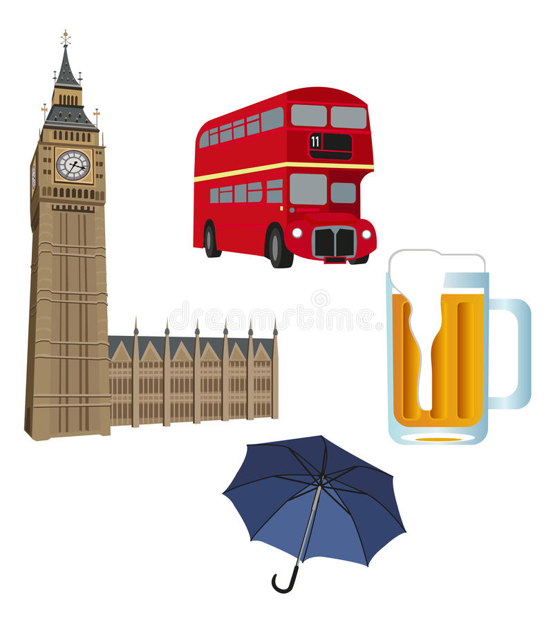 Symbols of London. Illustration of Big Ben tower, London bus, beer and an umbrella stock illustration