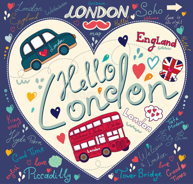Download Symbols of London stock vector. Image of hand, taxi, britain - 25818415