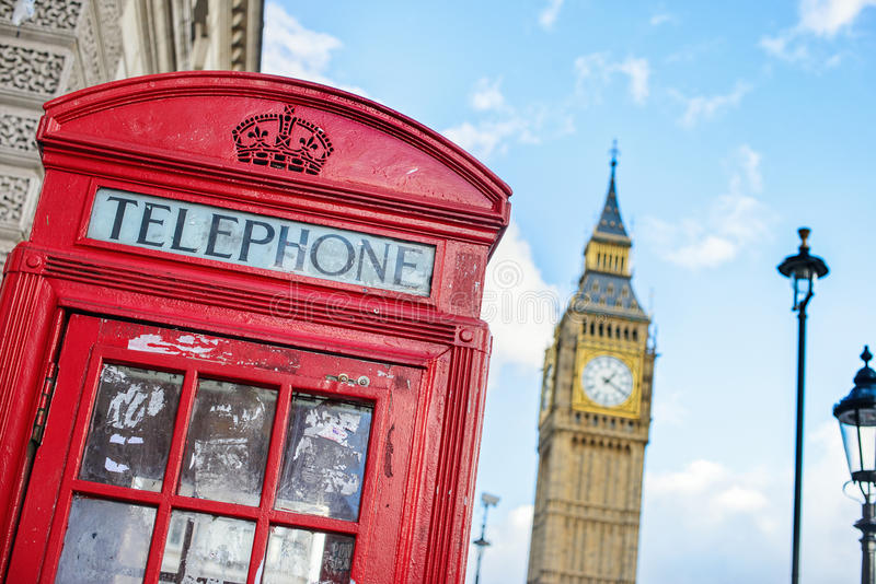Symbols of London, a red telephone box and Big Ben inline stock images