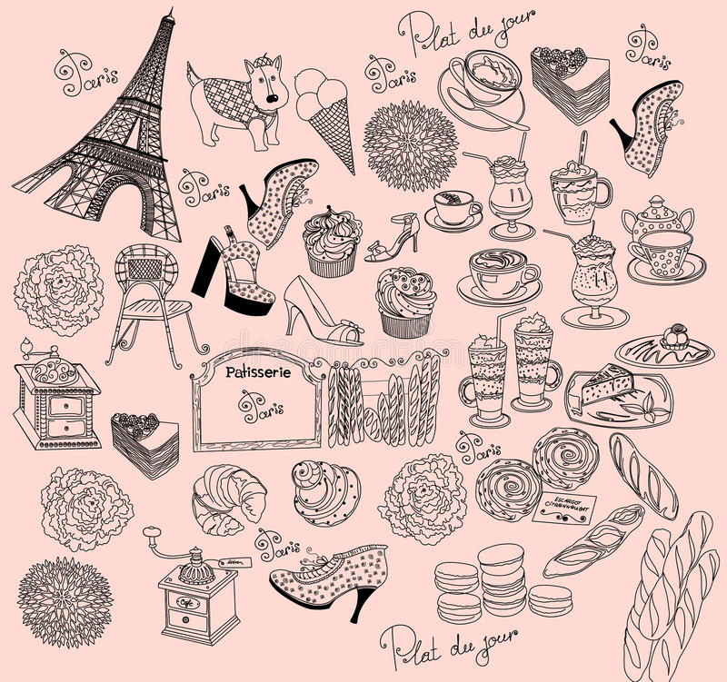 Download Symbols of Paris stock illustration. Image of card, object - 15977033