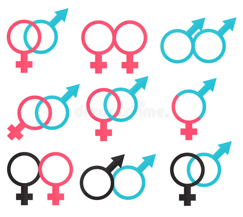 Symbols relations between man and woman. Illustration stock illustration