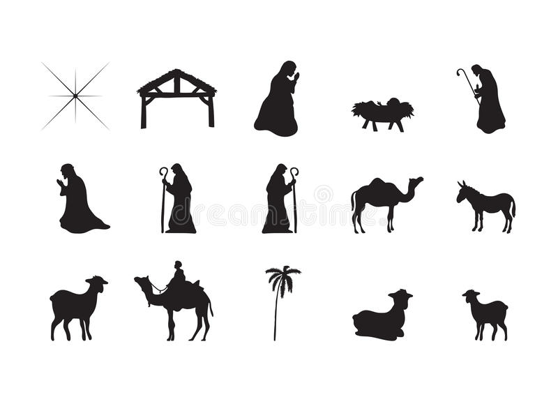 Symbols Representing The Birth Of Jesus Christ Stock Vector