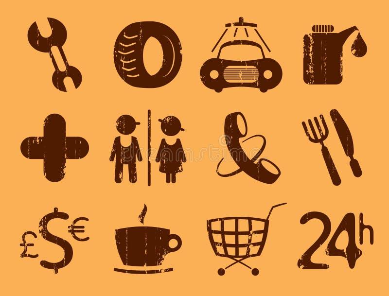Symbols roadside services. Car services, gas station icons. Symbols roadside services, vintage style stock illustration