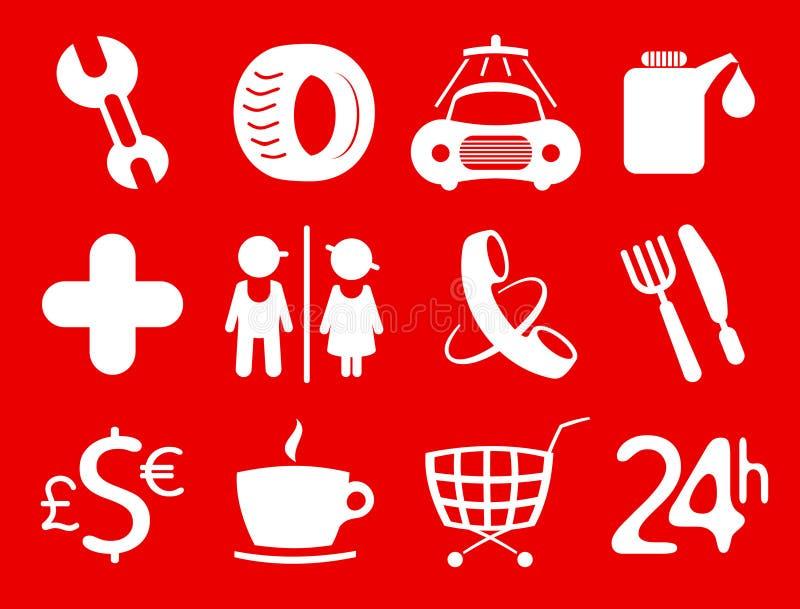 Symbols roadside services. Car services, gas station icons. Symbols roadside services royalty free illustration