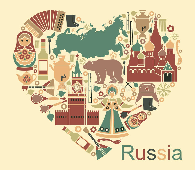 Symbols Of Russia In The Form Of Heart Stock Vector Illustration
