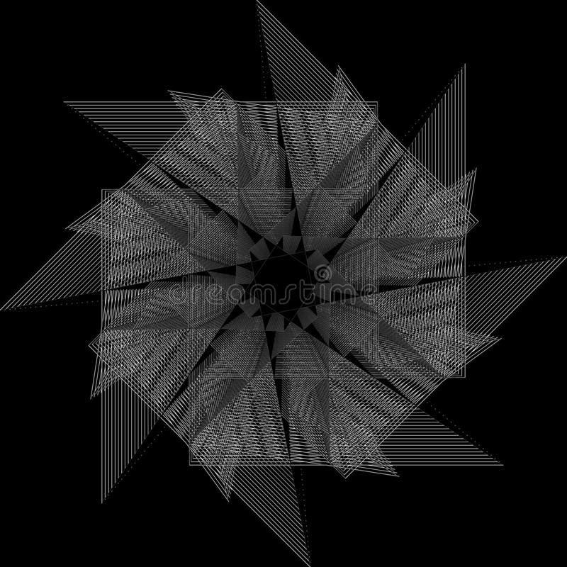 Flower 3d geometry of nature stars and flakes. Symbols of sacred geometry, depict fundamental aspects of space and time.Flower of life symbol variations royalty free illustration