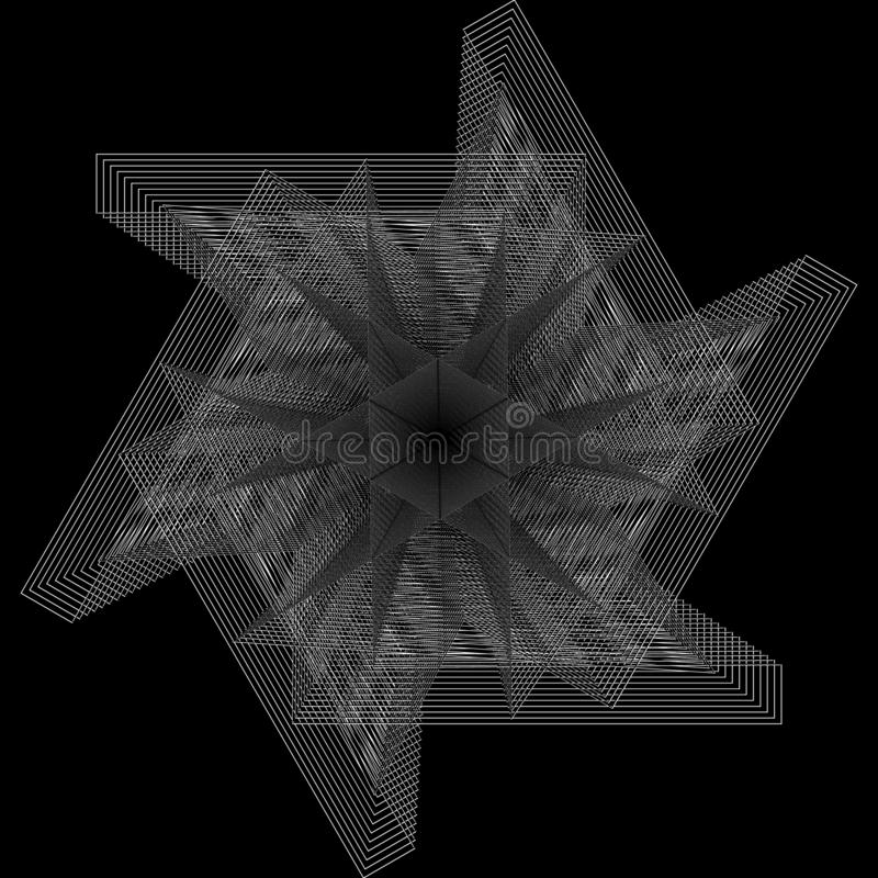 Flower 3d geometry of nature stars and flakes. Symbols of sacred geometry, depict fundamental aspects of space and time.Flower of life symbol variations stock illustration
