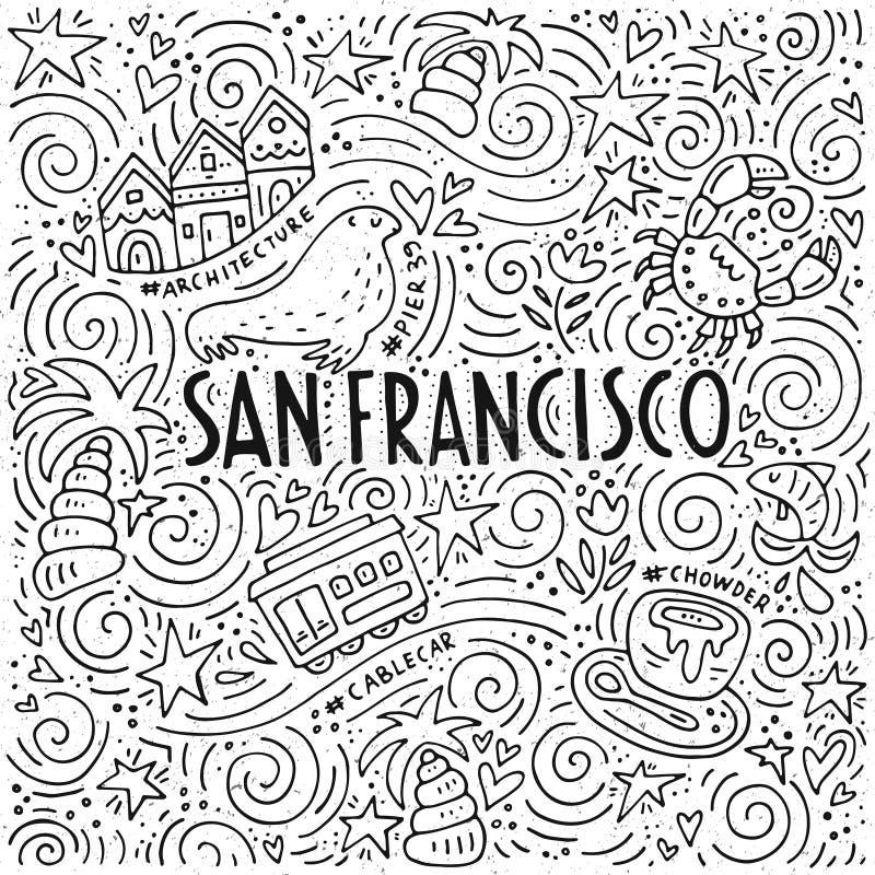 The Symbols Of San Francisco In Pattern Stock Vector Illustration