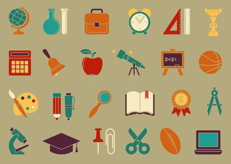Symbols of school and education stock illustration