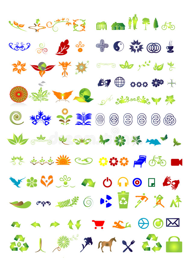 Symbols & signs collection - vector. Illustration - green nature stock illustration