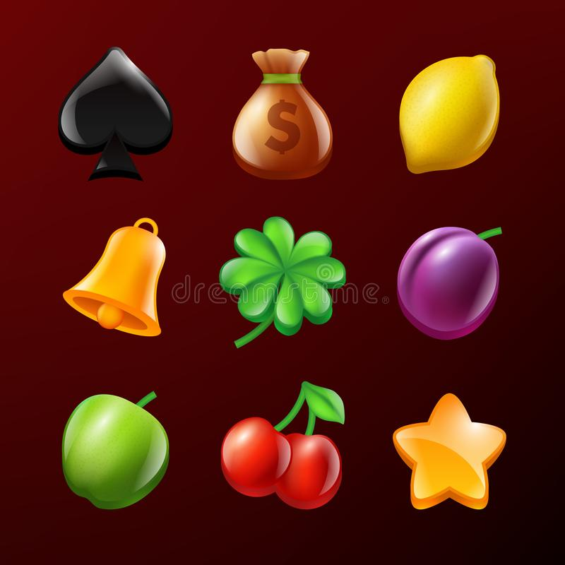 Symbols of slot machine. Set of vector realistic pictures. Illustration of star and lemon, bell and apple, realistic leaf royalty free illustration