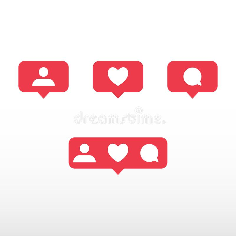 Symbols for social network. Notification icons social media notification. Template heart, comment, request in friend. vector illustration