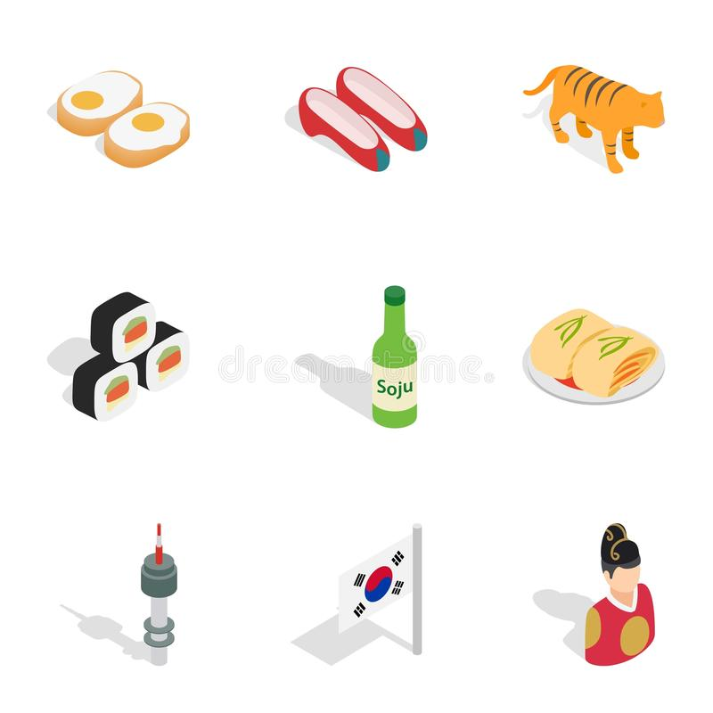 Symbols Of South Korea Icons Isometric 3d Style Stock Vector