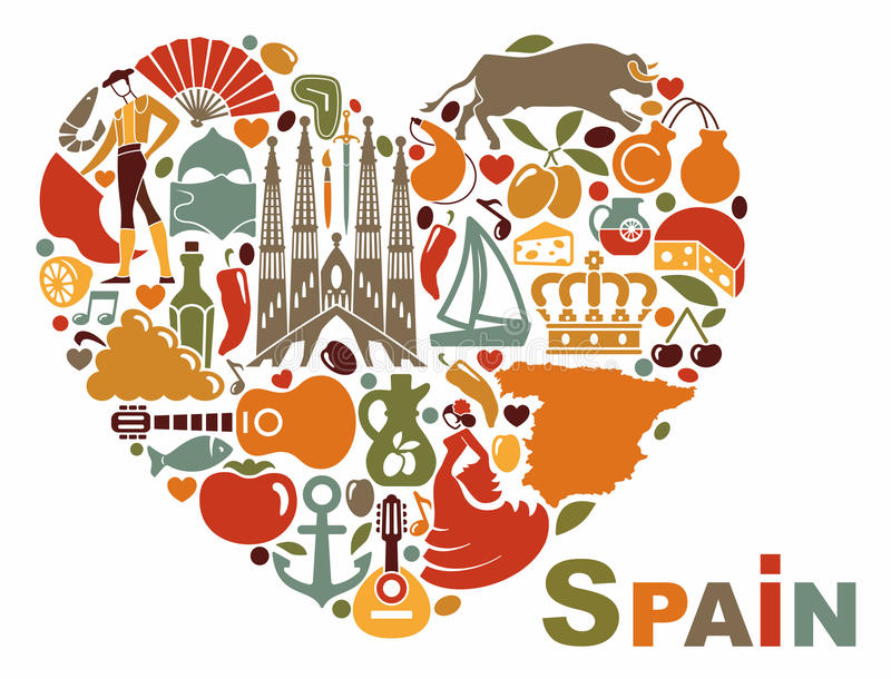 the symbols of spain in heart shape stock vector image Guitar Drawings Clip Art electric guitar silhouette clip art