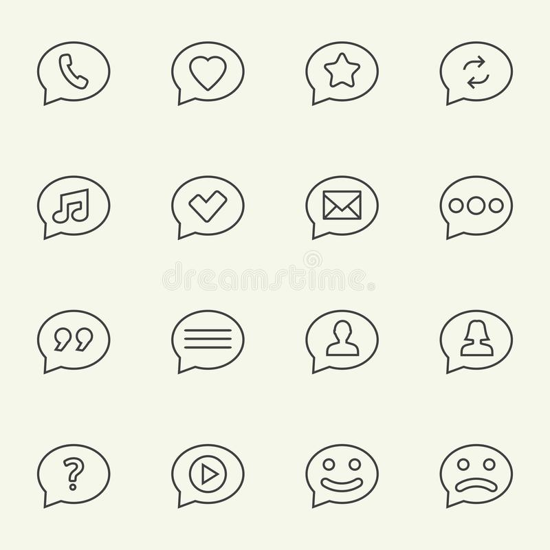 Speech bubble line icons. Symbols in speech bubbles vector icon set in thin line style stock illustration