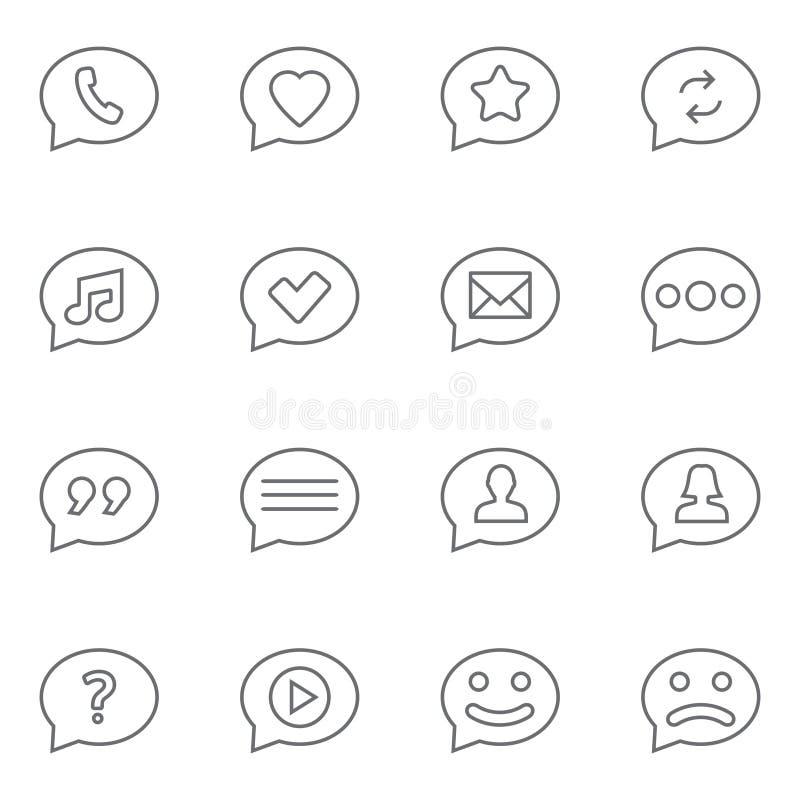 Speech bubbles thin line icons set. Symbols in speech bubbles vector icon set in thin line style royalty free illustration